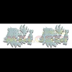 2 ADHESIVOS CABEZA LEÓN MALOSSI - 3D - PLATA - 10 CM